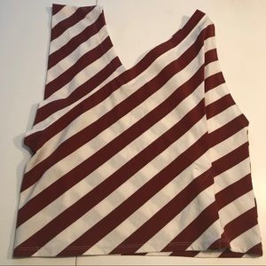 Postmark stripe asymmetrical off shoulder top